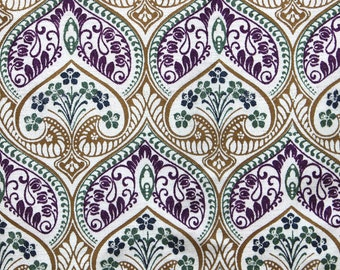 Moroccan Lotus Printed Cotton Viscose Velvet Fabric By the Yard Upholstery Fabric Commercial Curtain Fabric Fashion Velvet Window Treatment