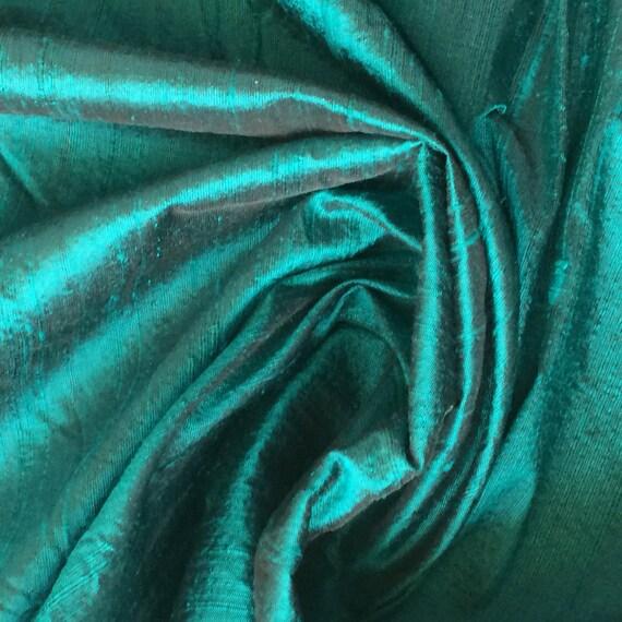 Dark Peacock Green 100 Percent Pure Silk Dupioni Fabric Decorative Silk Wholesale Silk Fabric Raw Silk Fabric Indian Silk Fabric By The Yard