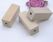 50 Natural wood beads / unfinished wooden beads / wood square pillars / Square post 16x16x40mm