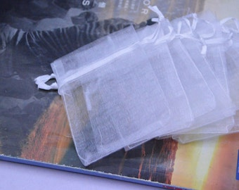 organza gift bags / White transparent bags / jewelry bags 2 1/4''x3 1/2''