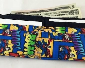 BillFold Wallet - Mens Wallet Boys Wallet Kids Wallet  Superhero Wallet - Geek Wallet Nerd Wallet - Vegan Wallet - Made From Superman Fabric