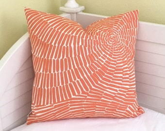 Trina Turk for Schumacher Sonriza in Orange (on Both Sides) Indoor Outdoor Pillow Cover - Square, Euro and Lumbar Sizes
