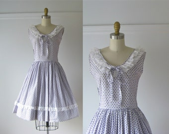 vintage 1950s dress / 50s dress / Lavender Fields