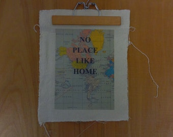 Handmade Wall Quote Map with Vintage Hanger