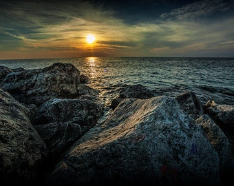 Ottawa Beach Sunset from the Channel Rocks on Lake Michigan in Holland Michigan No.0031 Fine Art Sunset Landscape Photography