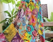 Floral Print Thai Soft Cotton Patchwork Boho Skirt - elastic waist OM0415-03