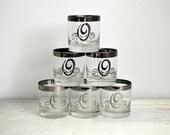 Vintage Initial O Silver Rim Glasses, Drinking Glass Set, Wedding Toast Lowball Tumbler, Mad Men Style, Letter Monogram O