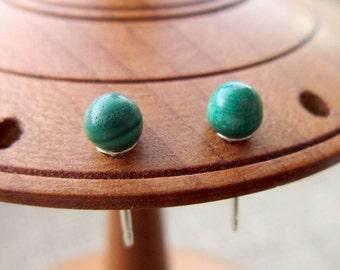 Green Malachite silver studs - Sterling silver 4mm ball post earrings