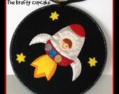 Space Man Rocket 7 inch Embroidery Hoop Wall Art Felt Applique