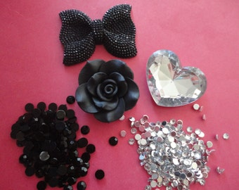 Kawaii big black bow with rhinestone decoden deco diy cabochon charm kit  C 90--- USA seller