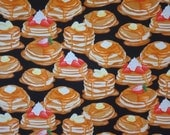 Stacks of Pancakes Print Pure Cotton Fabric from Benartex--One Yard