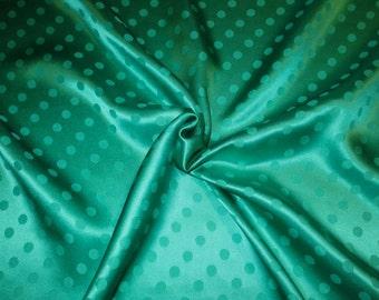 Jade Green Polka Dot Design Pure Silk Jacquard Fabric--One Yard
