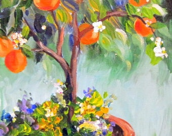 Orange Tree Original Painting landscape Reserved for Anita  12 x 24 Art by Elaine Cory