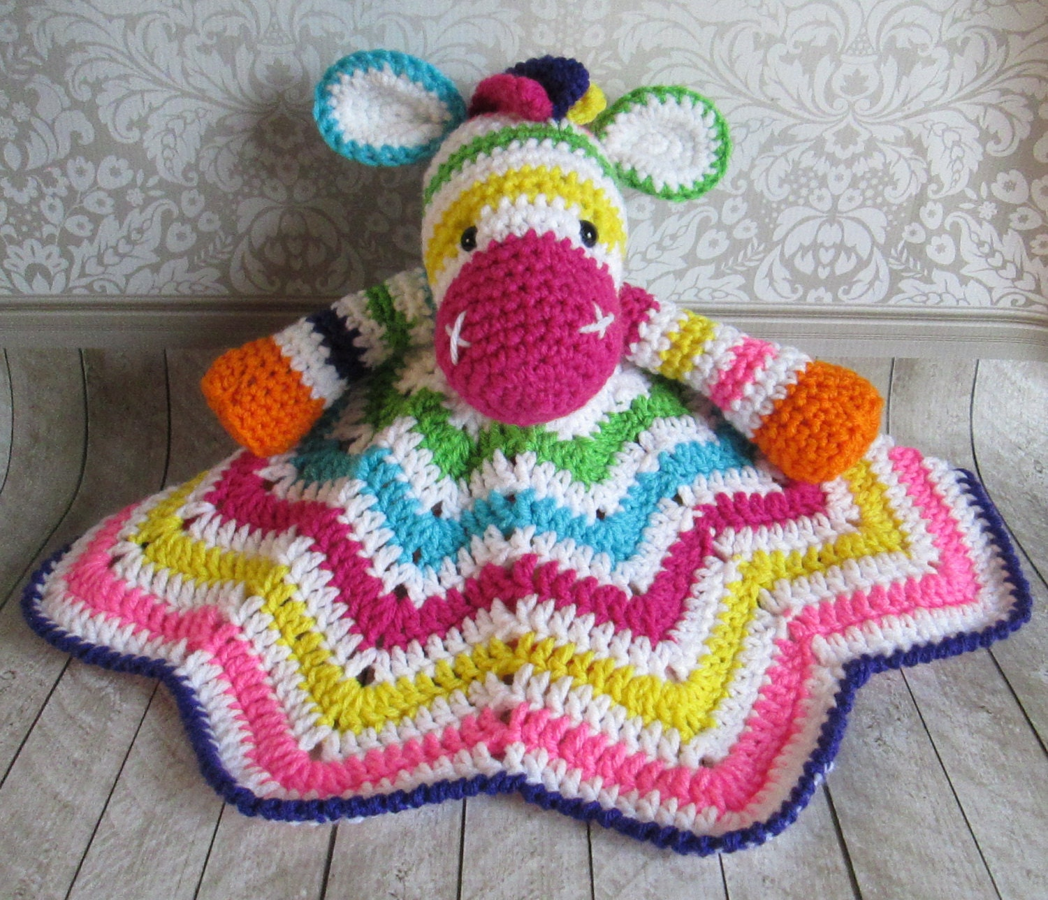 Crochet Zebra Blanket : Zoey the Zebra Crochet Lovey Blanket Rainbow by turnipsandparsnips