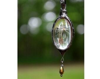Summer Jewelry, Dandelion Necklace, Summer Necklace, Real Dandelion Seed Jewelry, Summer Pendant, Make a Wish, Keepsake Jewelry (2319)