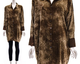 Vintage 90s modernist top cocoon blouse Brown Batwing Tie Dye Plaid Oversized Button Down Dress Shirt Tunic AVANT GARDE COCOON Blouse One Si