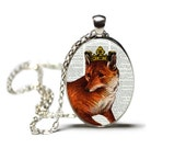 Fox with Crown Jewelry Hamilton House Prints Original Print Necklace Dictionary Art Prints Dictionary Jewelry