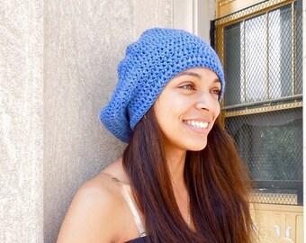 Slouchy Hat, Crochet, Women, Men, Teen,  Blue, Tam, Ready To Ship,