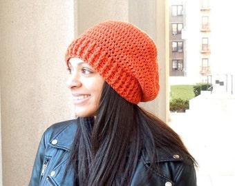 Crochet Slouchy Hat, Women, Men, Teen, Tam, Pumpkin, Orange, Ready To Ship