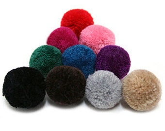 4Pieces - 25mm Yarn PomPom  - Pick Your Colors - 21 Different Colors