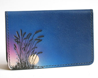 Leather Business Card Case / Wheat / Blue Sky
