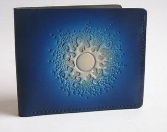 Men's Leather Wallet / Blue Sun