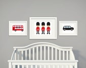 RESERVED FOR Rory   London Theme Nursery Set   Tree   Set of 3   Nursery Art   Wall Art   Subway Art   Nursery Decor