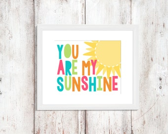 You Are My Sunshine | Nursery Art | Wall Art | Subway Art | Nursery Decor | 5x7 | 8x10 | 11x14