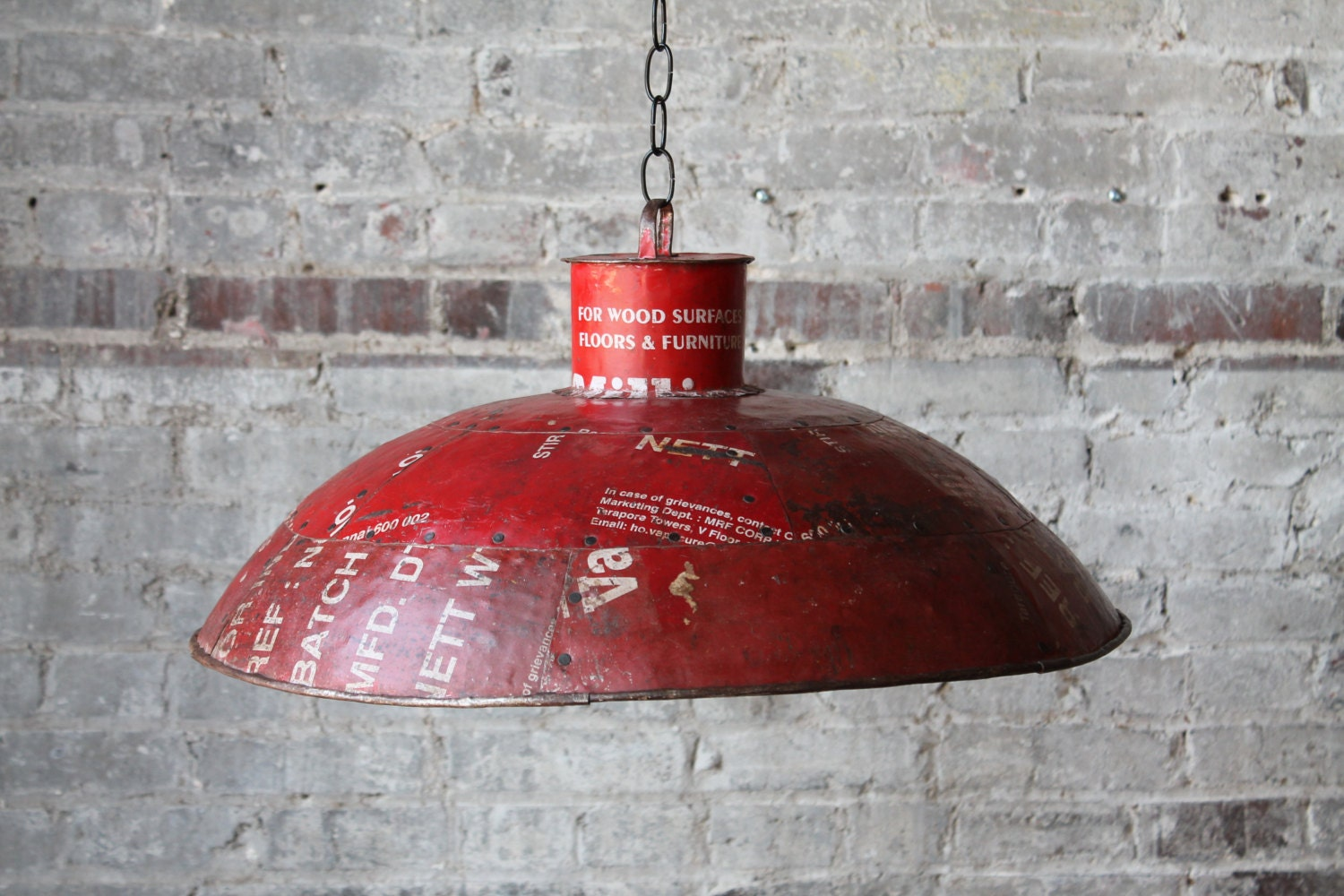 Vente suspension industriel rouge r cup r m tal luminaire for Luminaire suspension rouge