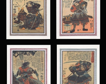 4 Blank Note Cards of Samurai by Kuniyoshi gcds004