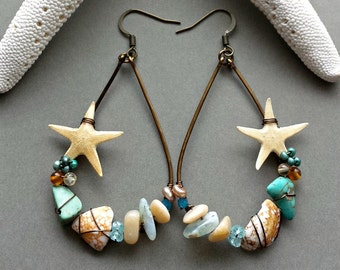 Real Starfish Hoop Earrings, Hawaiian Shell Earrings, Starfish Earrings, Beach Hoops, Bohemian Hoop Earrings:  Ready to Ship