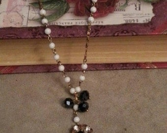 Vintage White Glass Beaded Chain Necklace, Crystal Accents, Repurposed