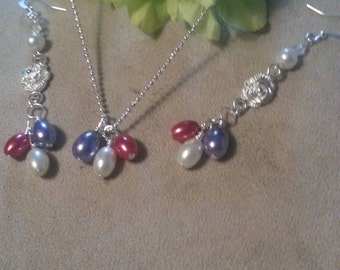 Silver Plate Small Ball Chain Necklace with Dangle Earrings, Matching Set, Pearl Accents