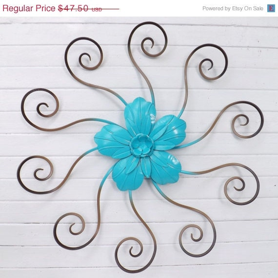 Wrought Iron Wall Decor Flowers : Large flower wall decor wrought iron by