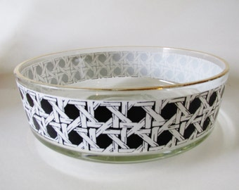Vintage Black and White Cane Style Glass Bowl, Palm Beach Decor, Hollywood Regency Lattice Work