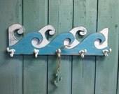 Waves Coat Rack Hook Rack Sign Wall Beach House Nautical Decor by CastawaysHall - 30 Inch