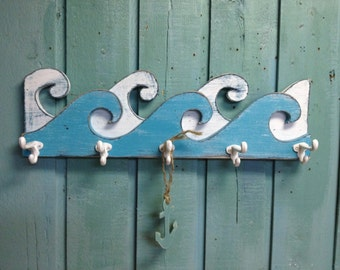 Waves Coat Rack Hook Rack Sign Wall Beach House Nautical Decor by CastawaysHall - 30 Inch