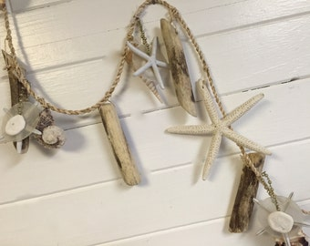 Starfish Shell Garland Driftwood Beach House Wedding Decor by CastawaysHall