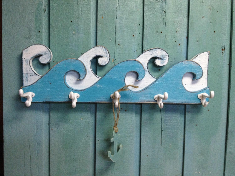 waves coat rack hook rack sign wall beach house nautical decor. Black Bedroom Furniture Sets. Home Design Ideas