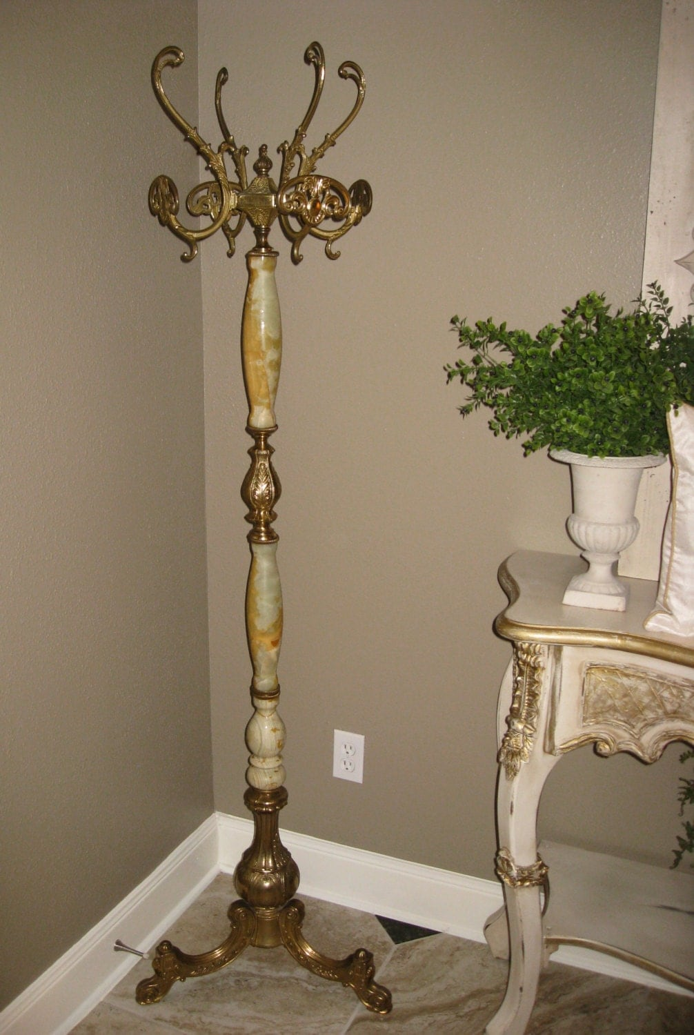 Antique French Ornate Brass Onyx Marble Coat Hat Hall Tree