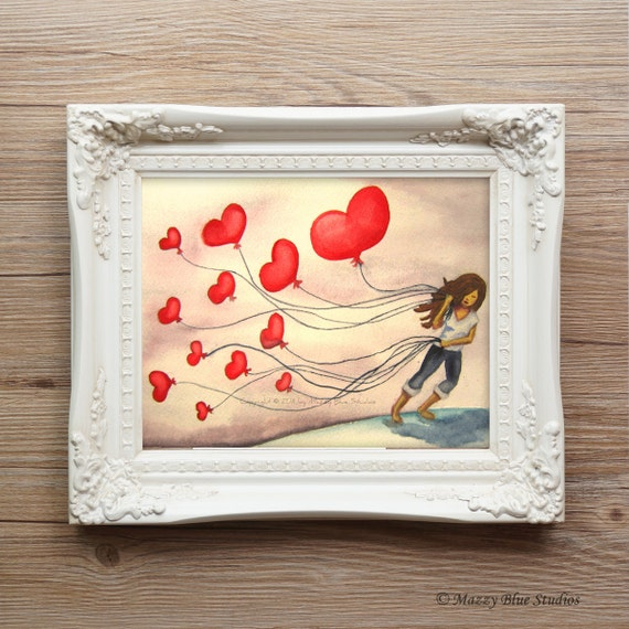 """PRINT Red Heart Balloon Watercolor Wall Art -- """"The LOVE We Keep"""" -- Whimsical Archival Pigment Ink Reproduction"""