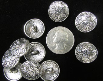 Silver Floral Design Buttons 18mm