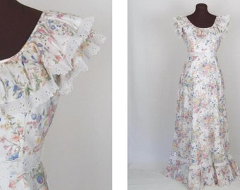 Vintage 70's Maxi Dress Floral Print Pink and Blue Prairie Hippie Boho Size XS / S