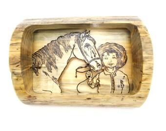 Horse Diorama, Horse Wall Art, Horse Shadow Box, Child and Horse, Child Horse Diorama,  Wood Diorama, Wood Shadow Box, Diorama, Rustic Décor