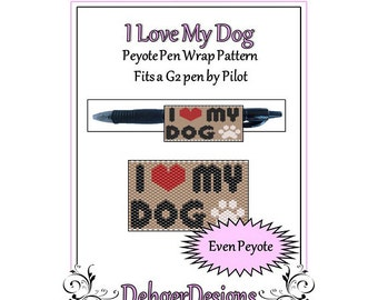 Bead Pattern Peyote(Pen Wrap/Cover)-I Love My Dog