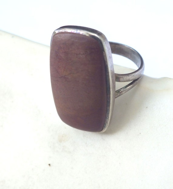Red Jasper and Sterling Silver Ring----Size 7.25