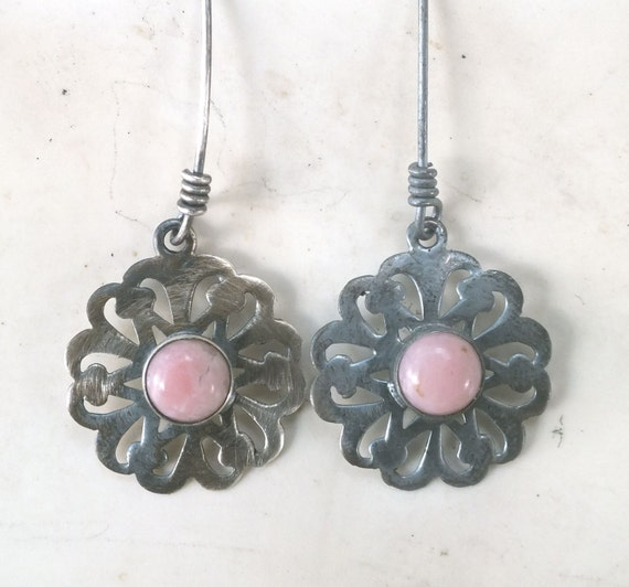Pink Tourmaline and Sterling Silver Flower Dangle Earrings----Sterling Cut out  Earrings