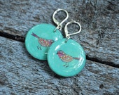 Mint birds handmade earrings - blue mint earrings, resin jewelry, resin pink earrings, jewelry bird print, gift idea for her - made to order