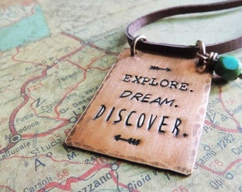 Explore Dream Discover Necklace, Mark Twain Adventure Quote, Travel Jewelry, Wanderlust Jewelry