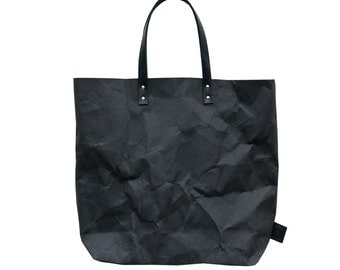 Black washable Paper Tote Bag